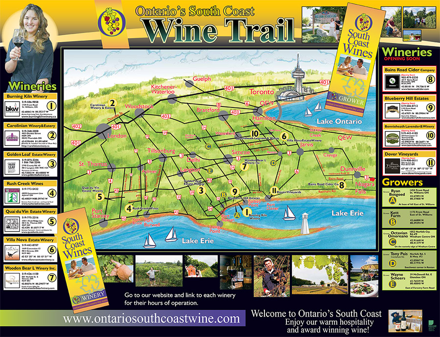 Ontario South Coast Wine Trail Map.